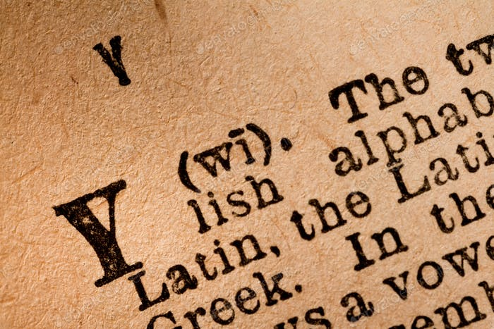Close-up of a Y, the 25th Letter of the Latin Alphabet