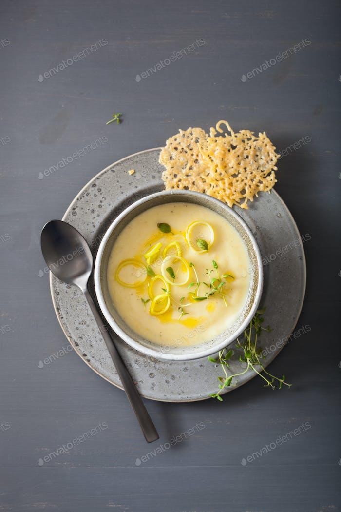creamy potato and leek soup in bowl