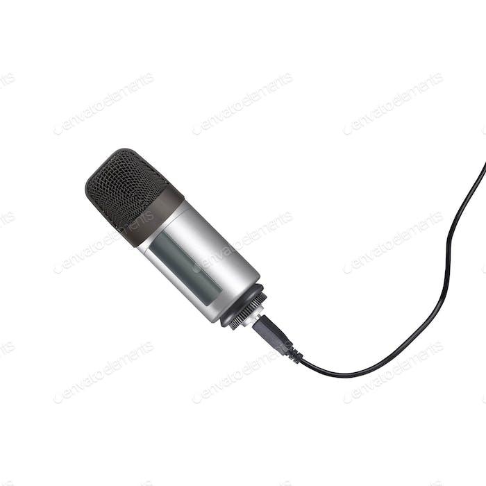 Микрофон изолирован на белом