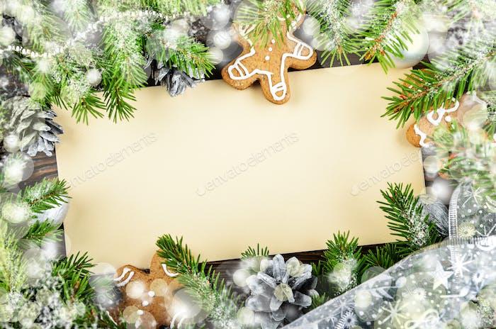 Flat lay mockup of holiday greeting card made of brown craft pap
