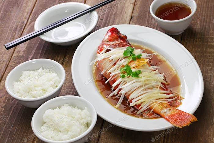 chinese steamed red grouper