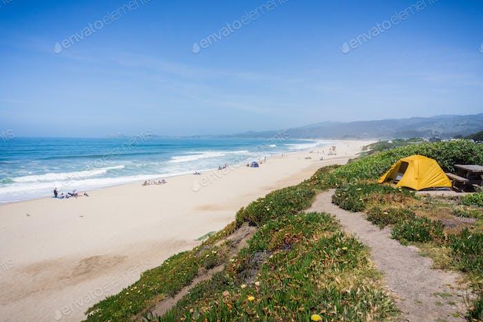 Camping on the Pacific Ocean coastal bluffs, Half Moon Bay, California