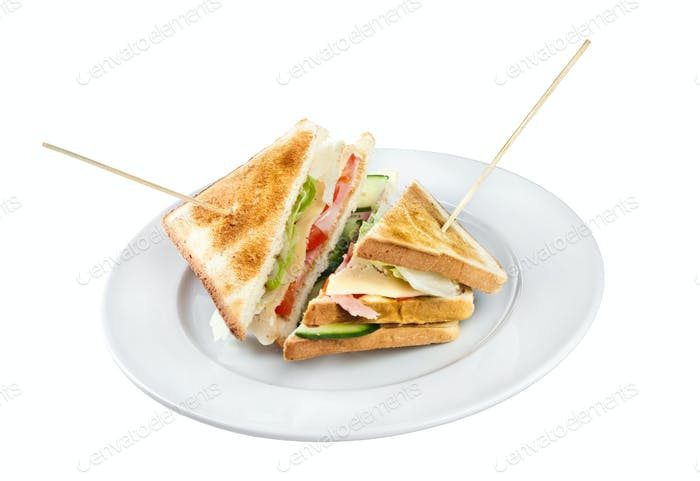 Two sandwiches on a plate