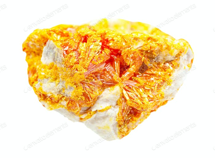 druse of Orpiment crystals on rock isolated