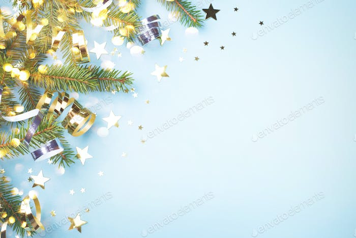 Christmas Backround with Golden Decorations.
