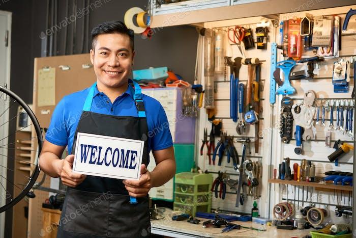 Mechanic Welcoming Customers