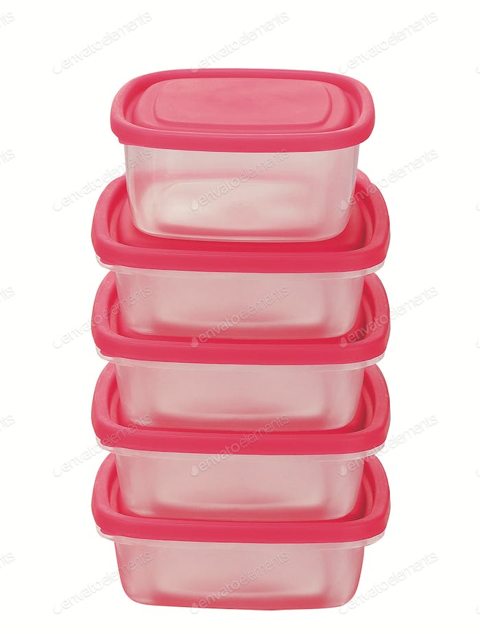 White plastic container with red lid