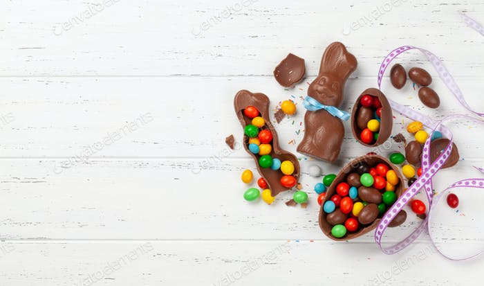 Chocolate easter eggs, choco rabbit and colorful sweets
