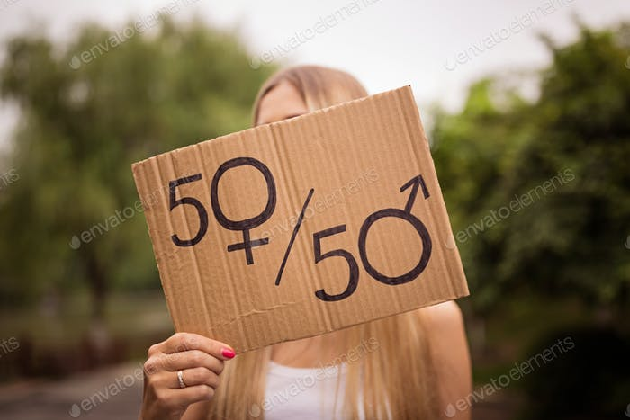 Woman Holding Hands Gender Equality Sign