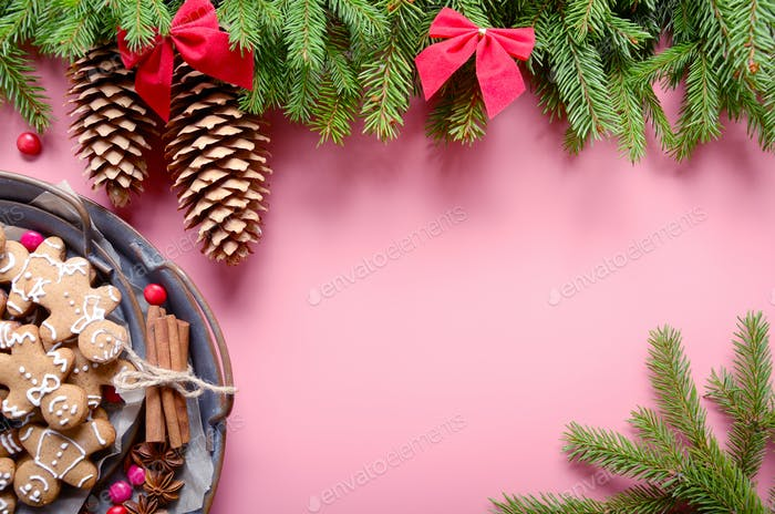Flat lay design of Christmas greeting card of fir twigs cones an