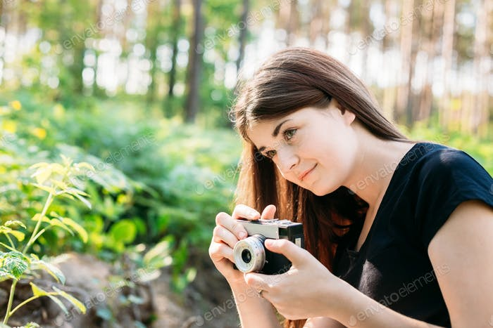 Happy Red-haired Caucasian Girl Young Woman Photographer Taking