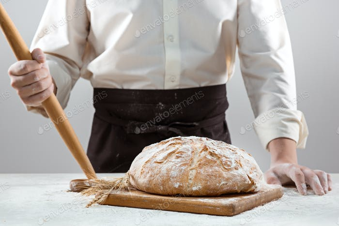 The male hands and rustic organic loaf of bread