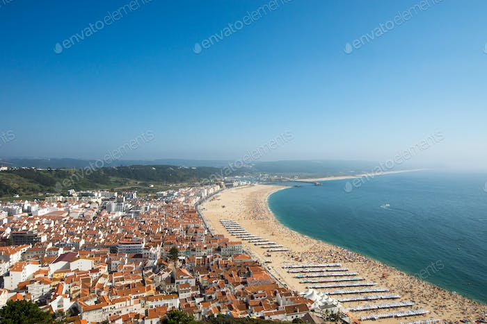 Nazare with the beach in Portugal