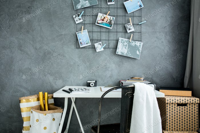 Home workspace with grey wall