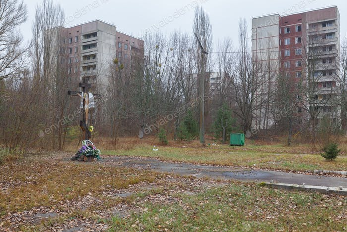 Main street in Pripyat city.