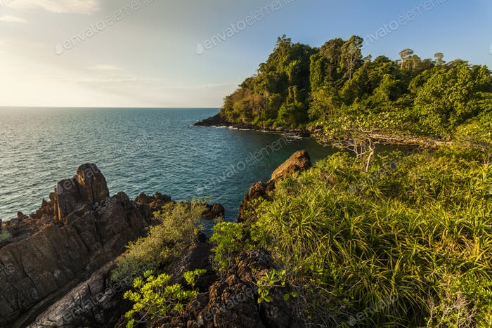 Beautiful view of the shore of a tropical island. Koh Chang. Thailand
