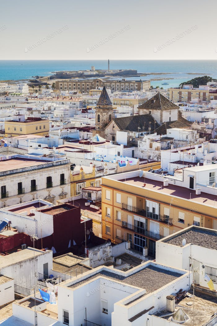 Aerial panorama of Cadiz