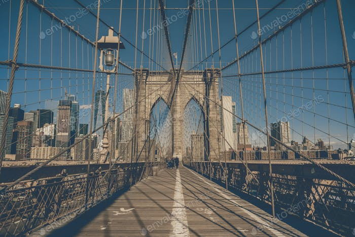 Brooklyn bridge at the morning, USA downtown skyline, Architecture and building