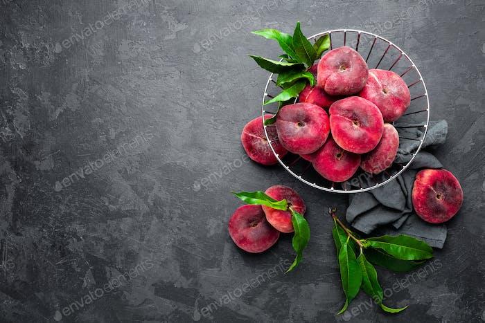 Peach, fresh peaches with leaves