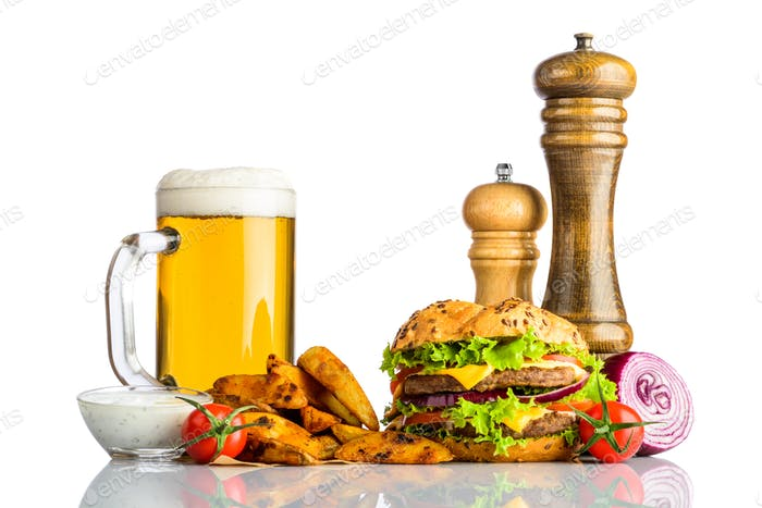 Mug Cold Beer with Fries and Burger on White Background