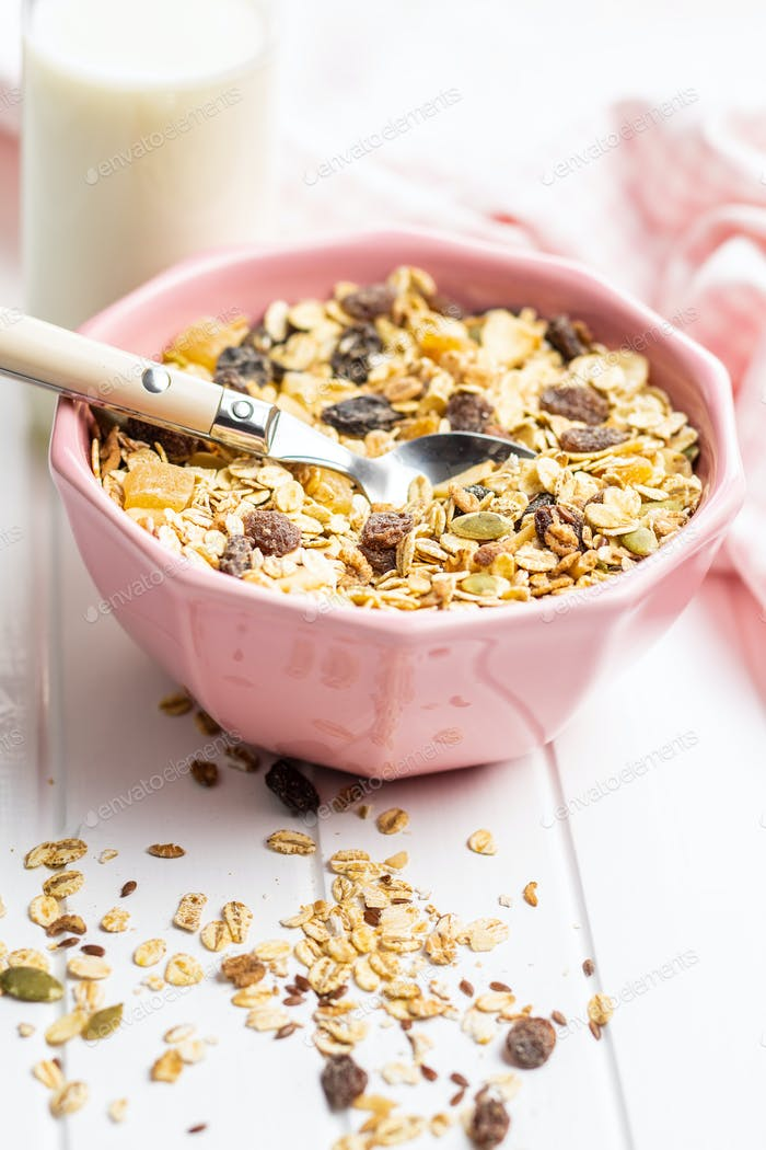 Healthy cereal breakfast. Mixed muesli.