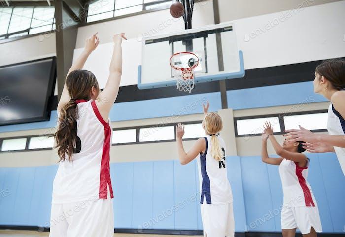 Female High School Basketball Team Shooting At Basket On Court