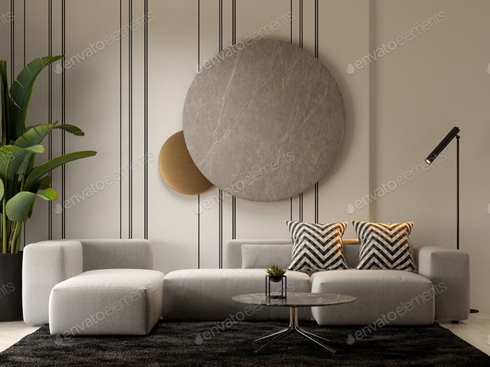 Minimalist Interior of modern living room 3D rendering