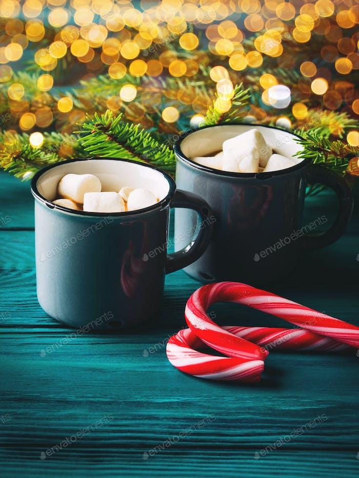 Hot chocolate. Christmas drink, festive lights
