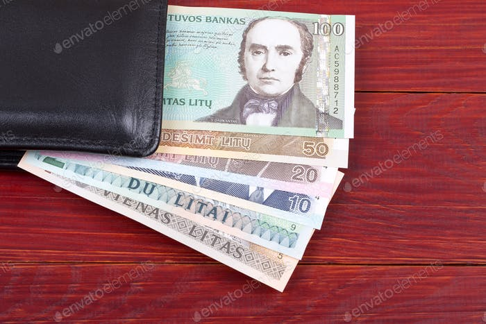 Money from Lithuania in the black wallet