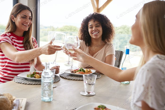Multi ethnic group of three young adult women making a toast,celebrating with wine glasses