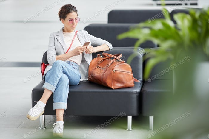 Young girl waiting for departure