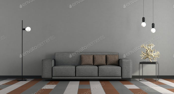 Gray and brown modern lounge