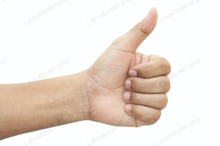 Hand mit Daumen nach oben
