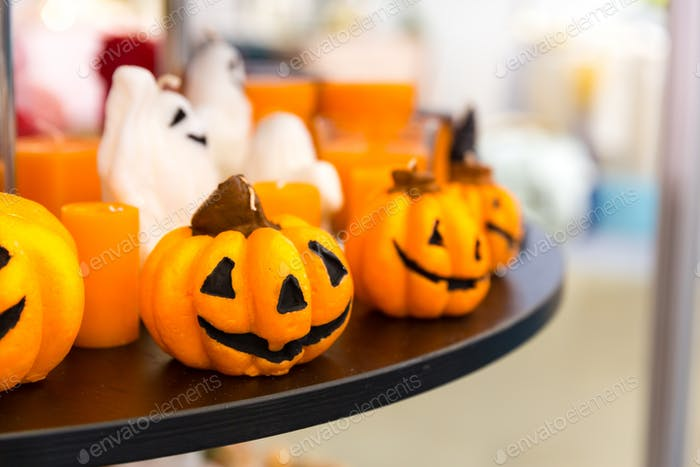 Halloween pumpkins closeup, traditional decoration