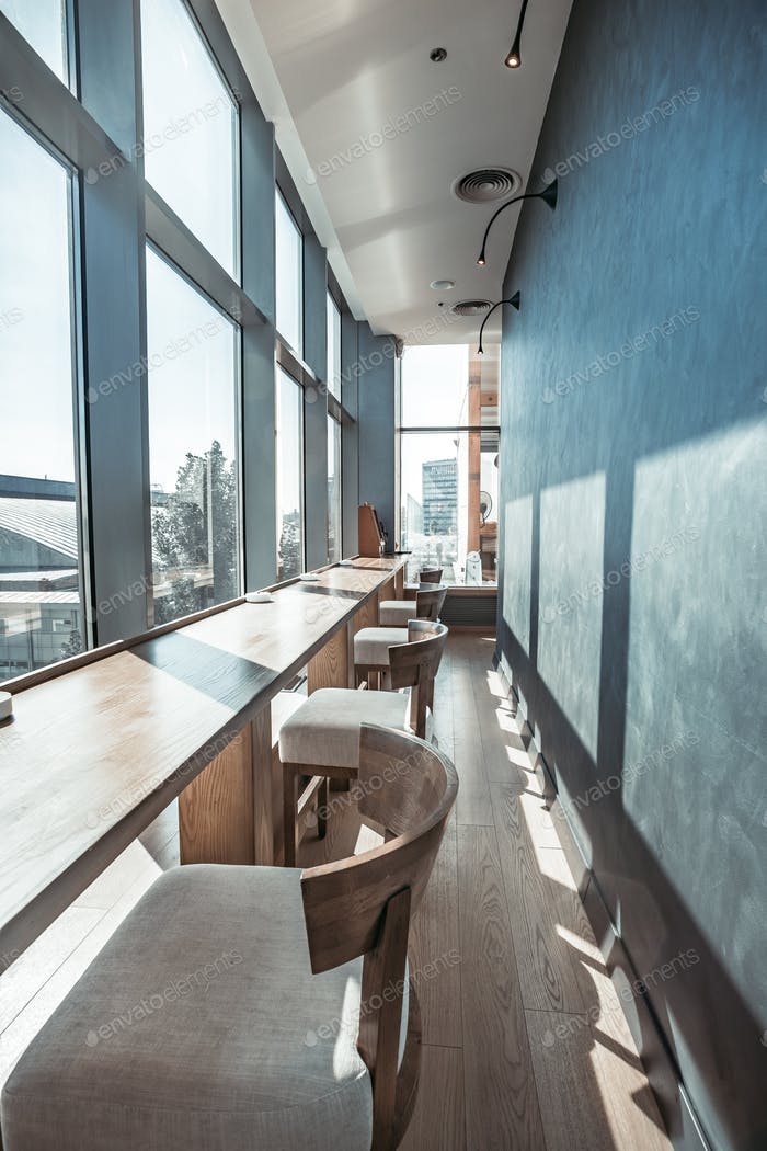 Restaurant interior with panoramic view