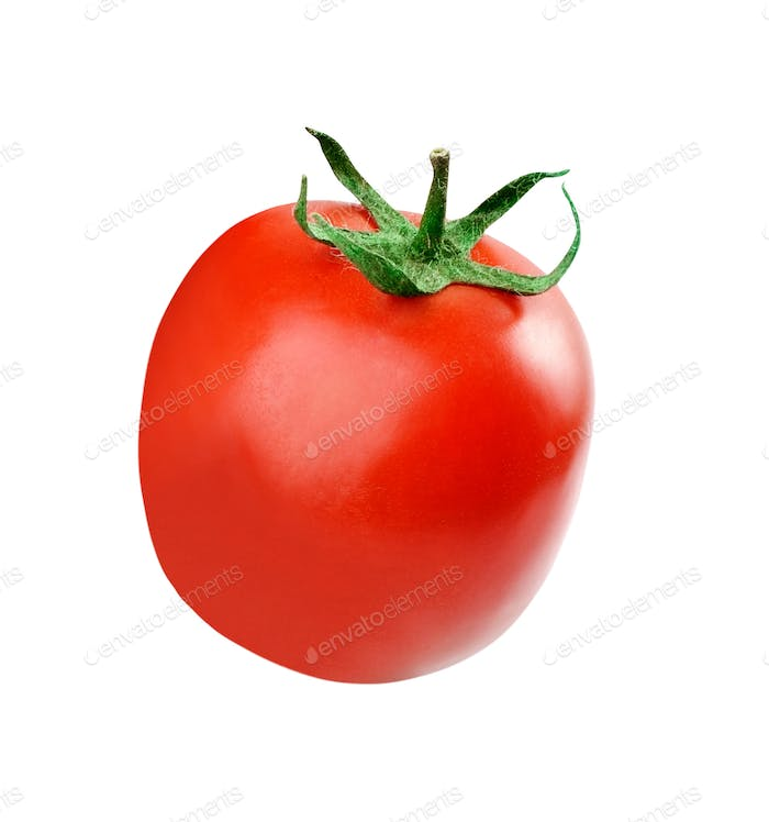 one fresh red tomato isolated on white