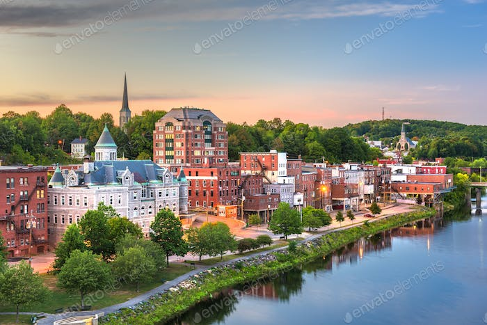 Augusta, Maine, USA downtown skyline on the Kennebec River