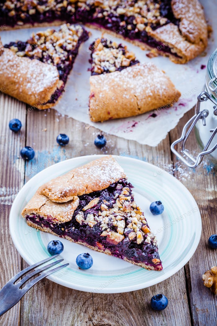 homemade galette with blueberries and walnuts