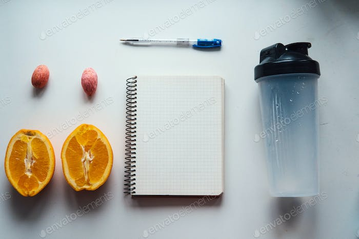 Workout and fitness,Planning control diet concept.