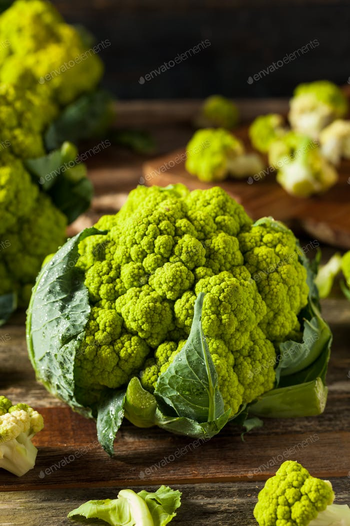 Raw Organic Green Broccoli Cauliflower