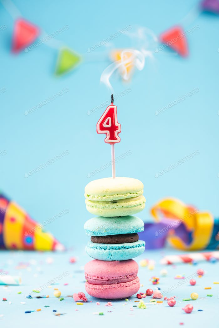 Fourth 4th  Birthday Card with Candle Blown Out in Colorful Maca