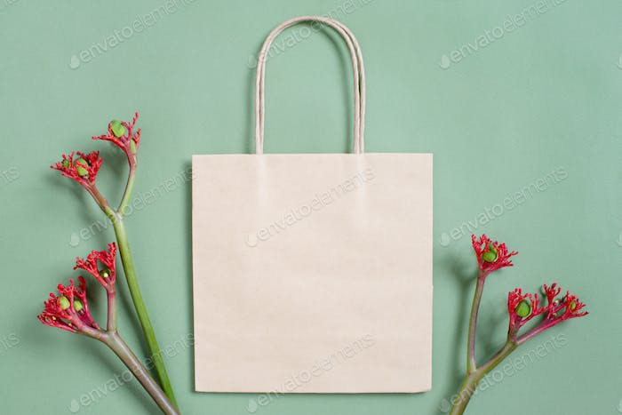 Craft Paper Bag Decorated with Flowers