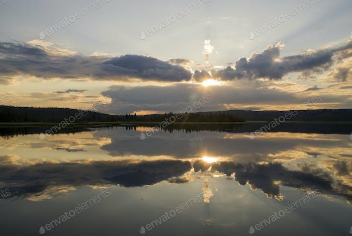 Sunset at lake Raudsjön near Gausdal in Norway