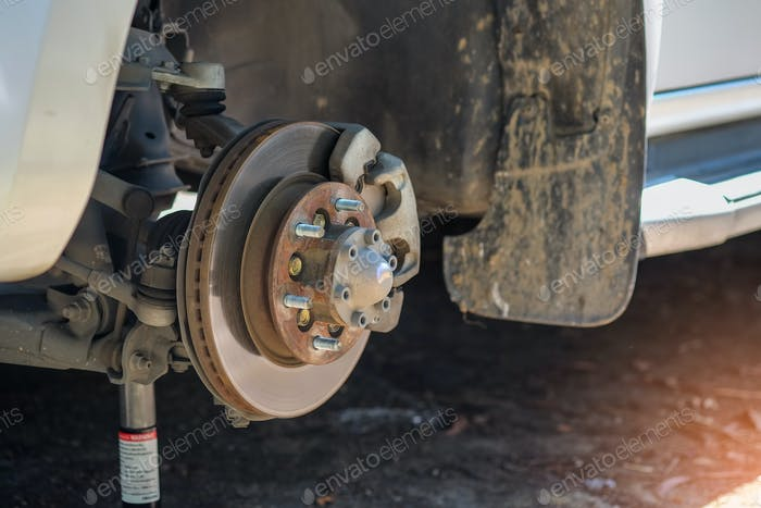 Remove the wheel to repair brake system.