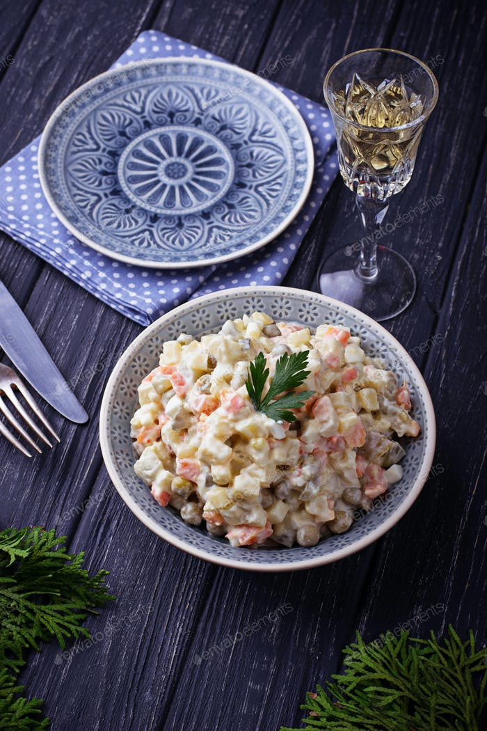 """Traditional Russian Christmas and New year salad """"Olivier"""""""