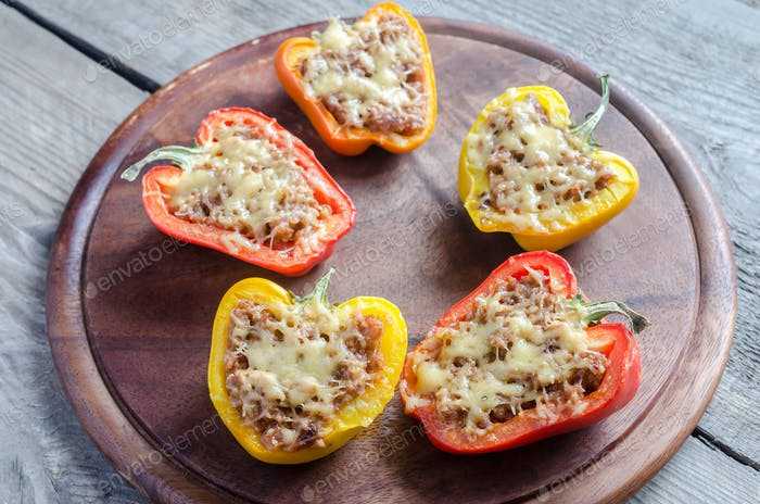 Stuffed peppers with meat in rustic decor