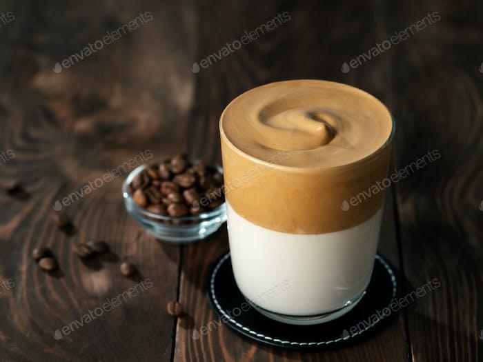 Dalgona coffee, copy space