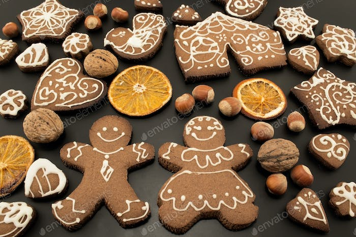Gingerbread  Cookies on a Black Background
