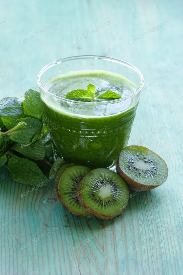 Fresh Green Juice Kiwi And Mint