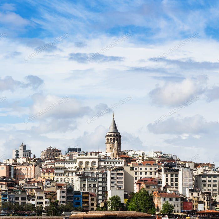 view of Galata District in Istanbul city